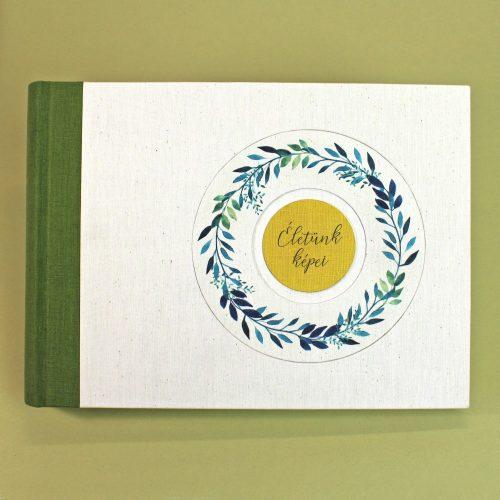 Zöld akvarell mintás fotóalbum (L)