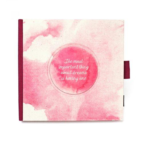 Akvarell - fukszia lenvászon napló, védőtokkal