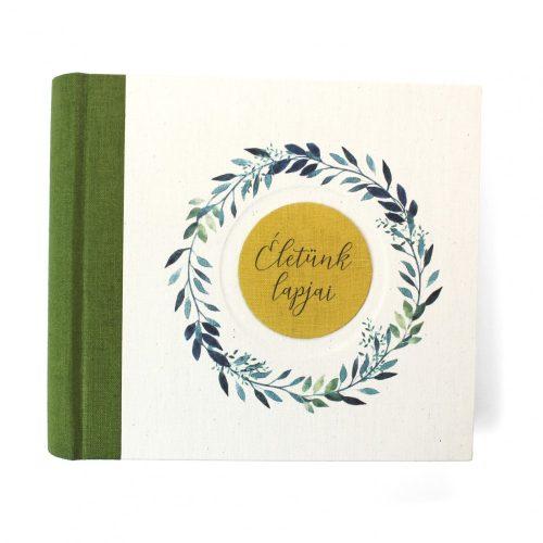 Zöld akvarell mintás fotóalbum (M)