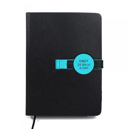 A/5 fekete -türkizkék napló cserélhető belívvel (200)