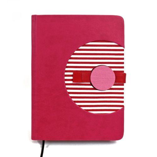 A/5 pink-piros-fehér csíkos napló cserélhető belívvel (200)