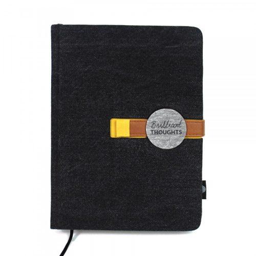 A/5 fekete farmer - okkersárga napló cserélhető belívvel (200)
